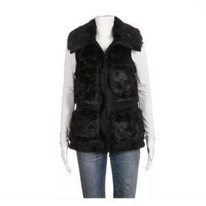 Black Faux Fur vest size XS fitted from RCZ